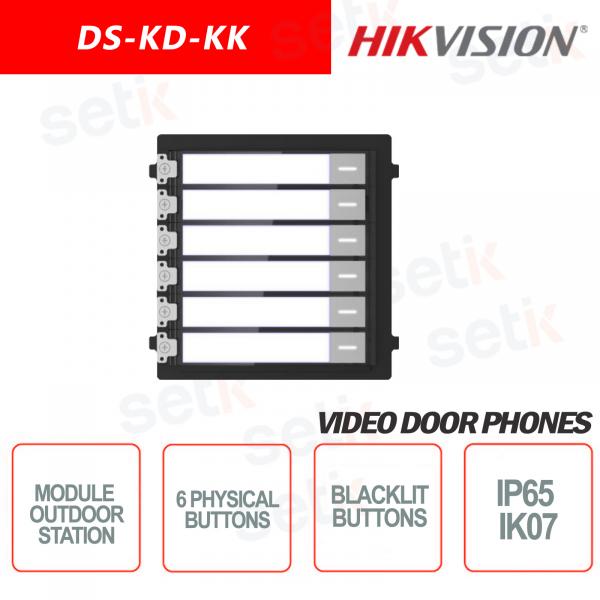 Modulo di espansione esterno Pulsantiera 6 tasti fisici retroilluminata IP65 IK07 - HIKVISION