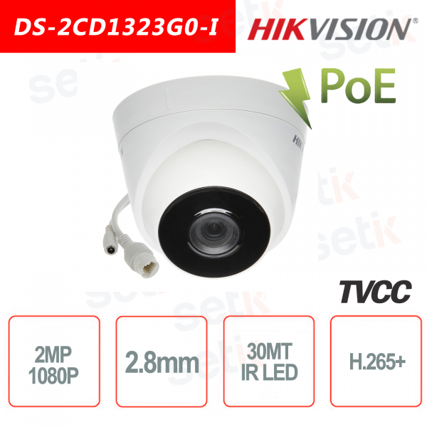 Telecamera Hikvision IP PoE 2.0 MP IR H.265+ 2.8mm Turret Camera 2MP