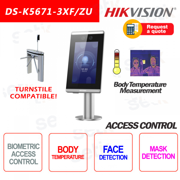 Access Control Hikvision Face Recognition Temperature Measurement Mask Detection