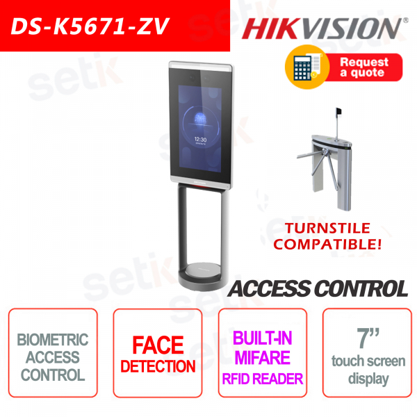 Controllo Accessi Hikvision Tornelli Terminale Riconoscimento Facciale MIFARE Card