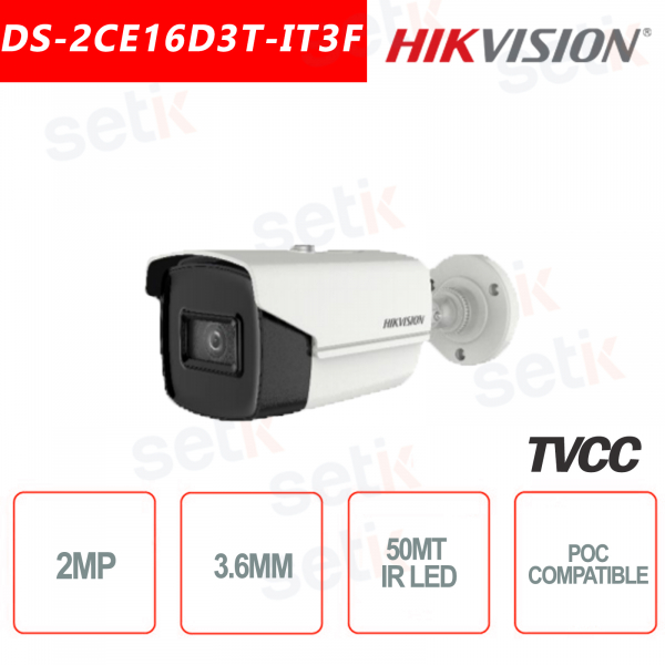 Hikvision 2MP Bullet Camera HD Turbo HD-TVI 4in1 3.6mm IR 50