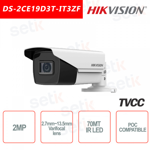 Hikvision 2MP Bullet Camera HD 4in1 2.7mm ~ 13.5mm IR