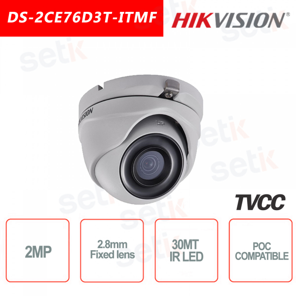 Telecamera Hikvision 2MP Turret Camera 4in1 2.8mm IR POC