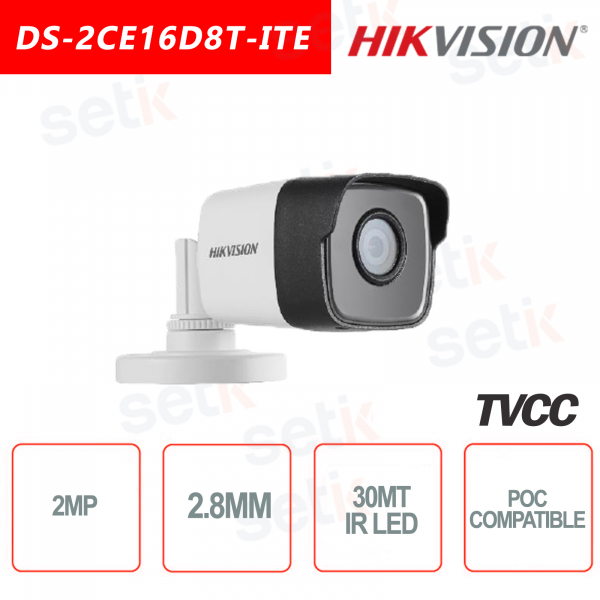 Telecamera Hikvision 2MP Bullet Camera HD Turbo HD-TVI 2.8mm IR POC