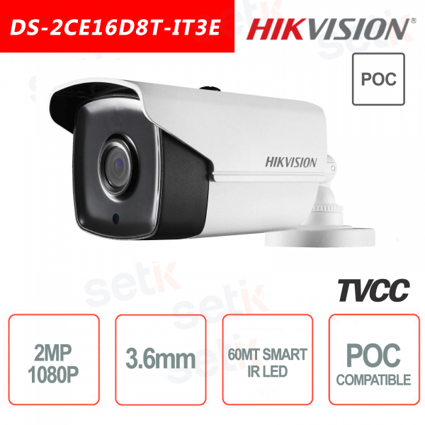 Telecamera Hikvision Ultra Low-Light 2MP POC Camera HD Turbo TVI 3.6mm EXIR 60M WDR