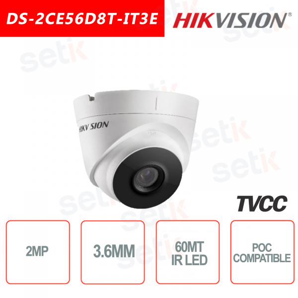 Telecamera Hikvision Turret Ultra Low-Light 2MP POC Camera HD Turbo TVI 3.6mm EXIR 60M WDR