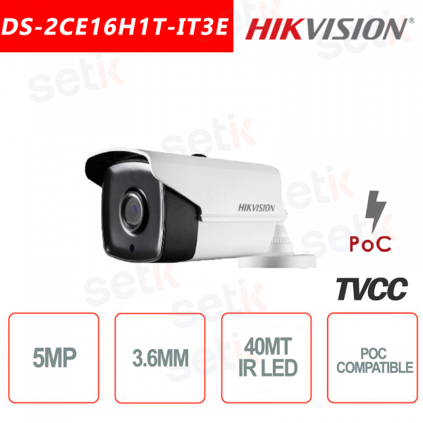 Telecamera Hikvision 5MP Bullet Camera HD Turbo HD-TVI 3.6mm IR 40M POC