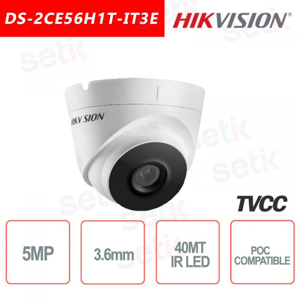 Hikvision Turret Ultra Low-Light 5MP POC Camera HD Turbo TVI 3.6mm EXIR 40M