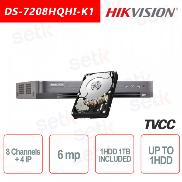 Hikvision DVR 8 HDTVI channels + 4 6MP IP channels + 1TB HDD A