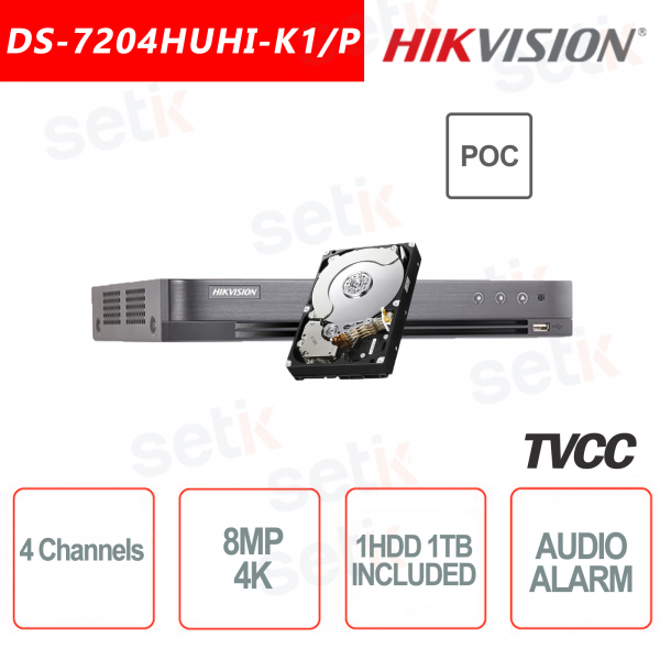 4-Channel Hikvision DVR 8MP 4K ULTRA HD + 1TB HDD with 4 PoC Ports