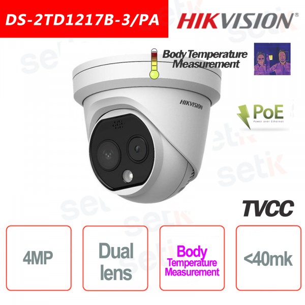 Telecamera Termica Hikvision Bi-spectrum Professionale Turret Camera Misurazione Temperatura Corpo 3mm