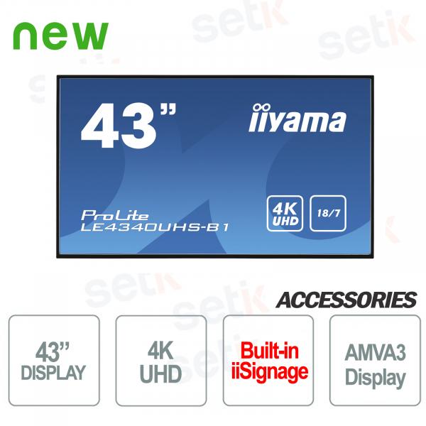 "Monitor Prolite 43"" UHD 4K Display AMVA3 LED Professionale IIYAMA"