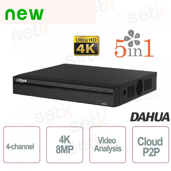 DVR 5in1 H265 4 Canali Ultra HD 4K 8MP Video Analisi - Dahua