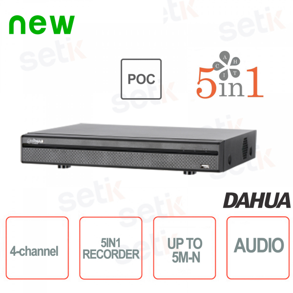 XVR 4 Canali 5M-N HDCVI AHD TVI ANALOGICO IP Porte PoC - Dahua