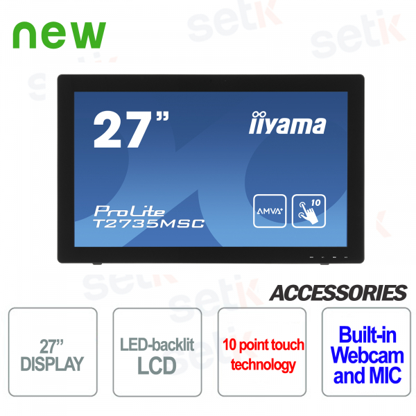 "Monitor Prolite 27"" LED AMVA+ Touchscreen PCAP Webcam Edge to Edge IIYAMA"