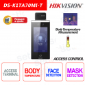 Access Control Hikvision Thermographic Terminal Face Recognition Temperature RFID Mask Mi