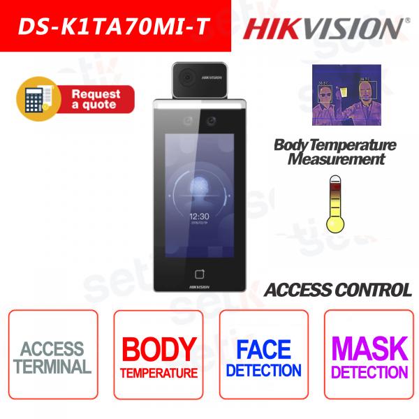 Controllo Accessi Hikvision Terminale Termografico Riconoscimento Facciale Temperatura Mascherina RFID Mifare