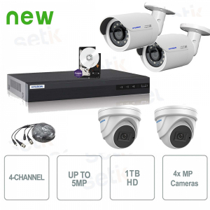 Kit Videosorveglianza 4 Canali Ibrido 5MP + Cam MP + HD - Hyundai