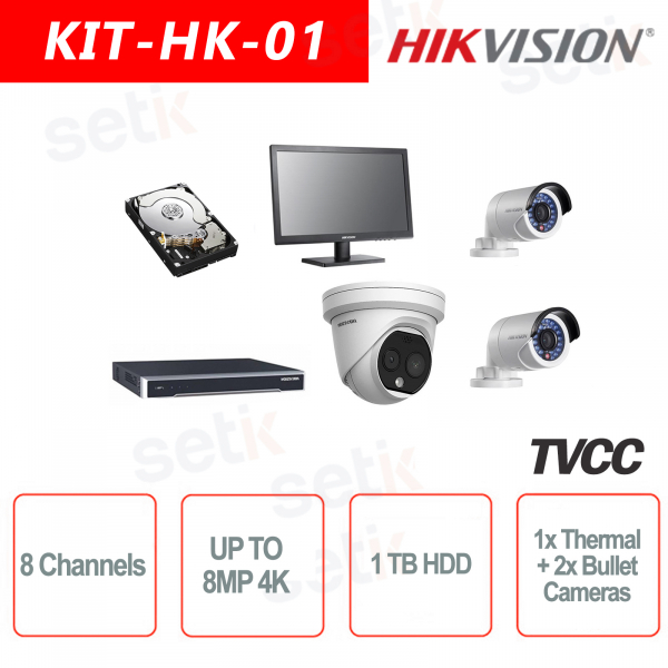 Kit IP 8 Canali 8MP + Cam Termica + HDD + 2 Cam IP + 1 Monitor 19 Hikvision