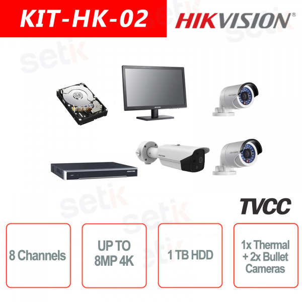 Kit IP 8 Canali 8MP + Cam Termica Bullet + HDD + 2 Cam IP + 1 Monitor 19 Hikvision