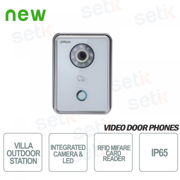 White Backlit Outdoor Station with 1.4Mp camera, Lighting and MIFARE RFID Reader - Vandalproof - D