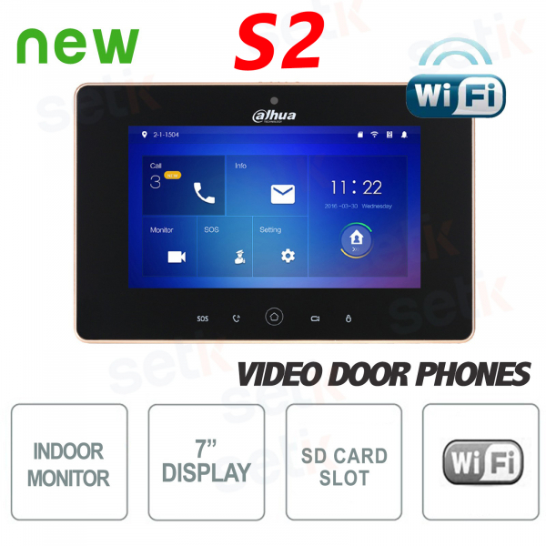"""Postazione Interna WiFi Display 7"""" Touch + Slot MicroSD e Snapshot Versione S2 - Nera - Dahua"""