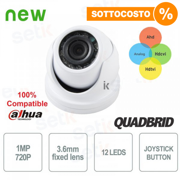 Video Surveillance Camera 720P Dome 4in1 ANALOG/AHD/TVI/CVI 3.6mm - for indoor - Setik