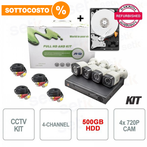 Video Surveillance Kit 4-Channel AHD 720P 1MP + HDD for free - Setik