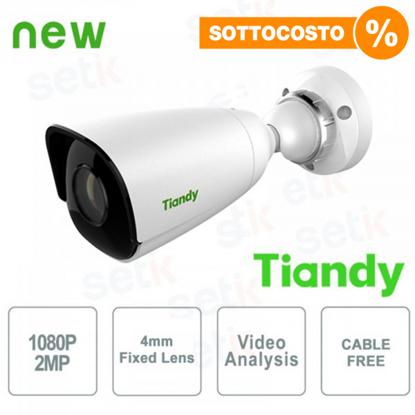 IP Mini Bullet Camera 2MPX 4mm Cable Free Video Analysis WDR - Tiandy