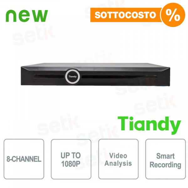 NVR 8 Canali 1080P 2HDD Video Analisi e Smart Recording - Tiandy