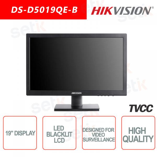 Monitor Hikvision 19 Pollici Retroilluminato con regolazione altezza - Adatto per Videosorveglianza