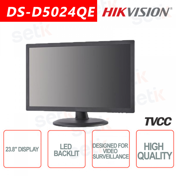 Hikvision 23.8 Inch Backlit Monitor - Suitable for video surveill
