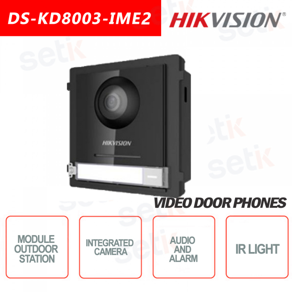 2 Wire Bifilar Outdoor Station 2MP Fish Eye Camera + IP65 ALARM AUDIO - HIKVISION