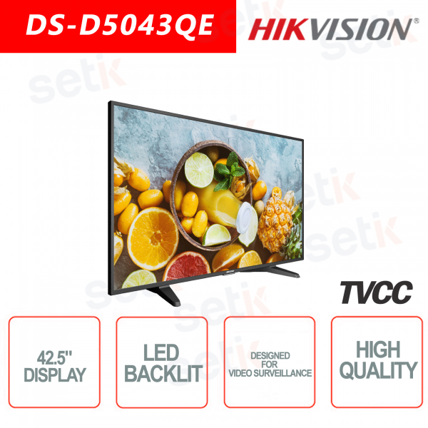 Hikvision 42.5 Inch Backlit Monitor - Speaker - Suitable for video surveill