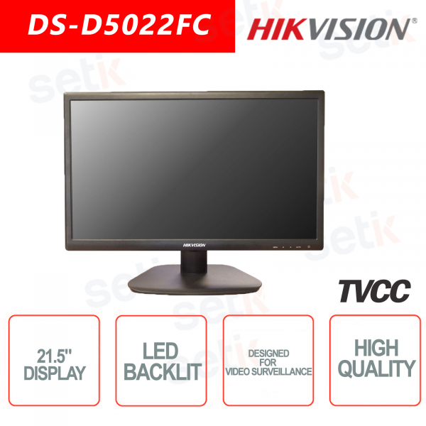 Monitor Hikvision 21.5 Inch Backlit Speaker - Suitable for video surveill