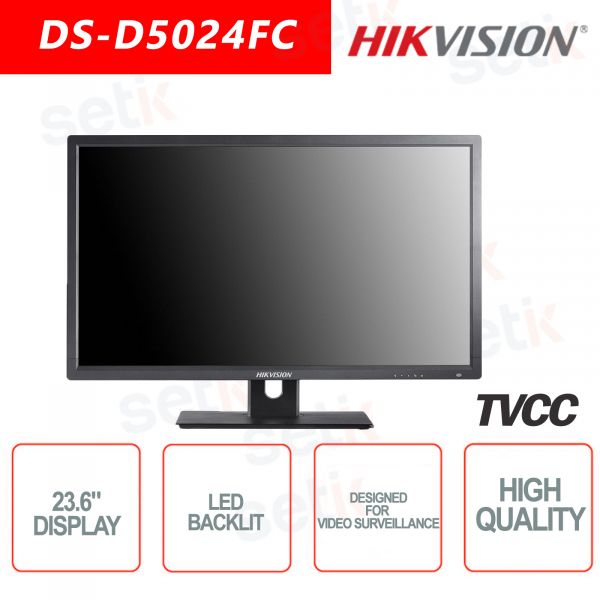 Monitor Hikvision 23.6 Inch Backlit Speaker - Suitable for video surveill
