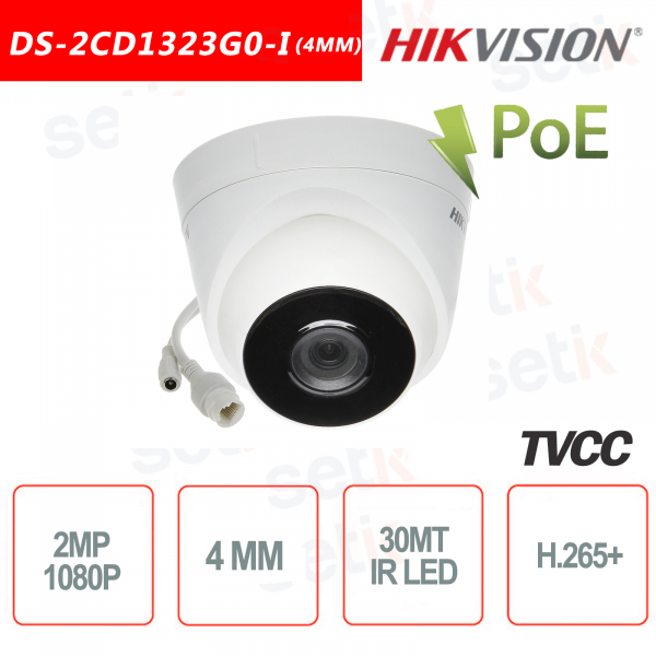 Hikvision IP PoE 2.0 MP IR H.265 + 4mm Turret Camera 2MP ca