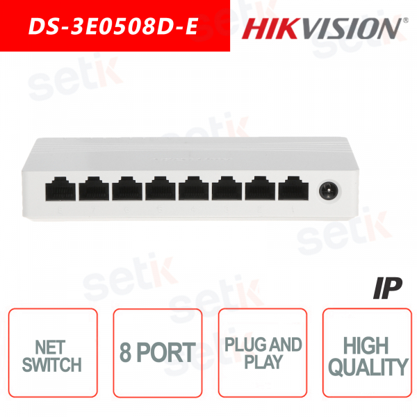 Switch Hikvision 8 Porte 10 / 100 / 1000 Mbps Ethernet Switch rete