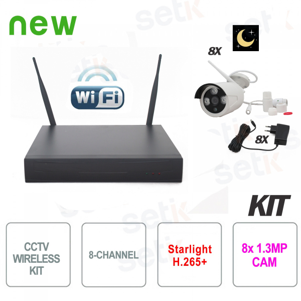 8-Channel H.265 Wireless IP Video Surveillance Kit Starlight S