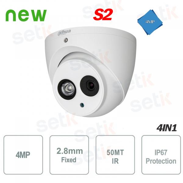 Telecamera 4in1 4MP Dome 2.8mm IR 50MT Versione S2 Dahua