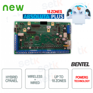 Bentel Security ABS18 Antivol Central Alarme Filaire Bentel sans Fil Absolute Plus 18 Zones