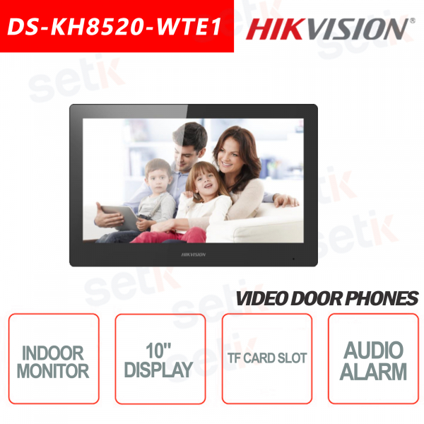 Postazione Interna Hikvision Display 10 Pollici + Slot microsd TF CARD e Allarme