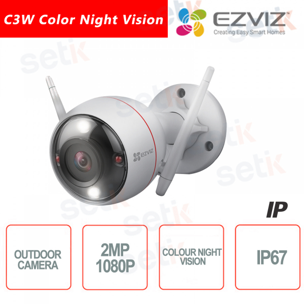 Ezviz Telecamera IP da esterno WIFI 2.8mm 2MP Color Night Vision Luce Strobo Sirena Hikvision