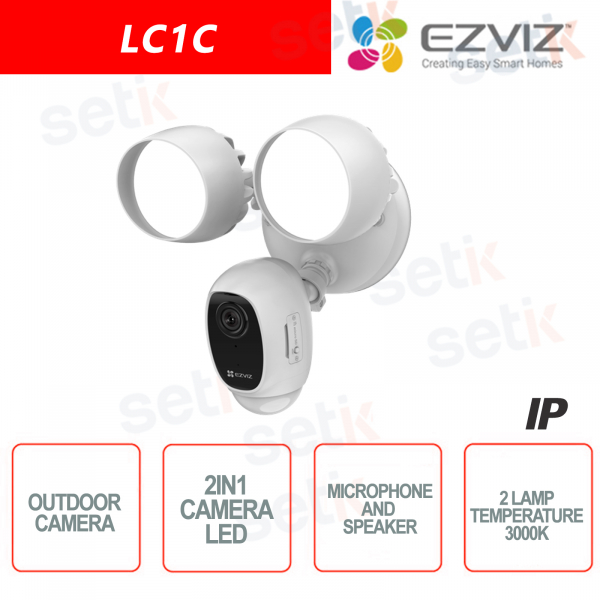 Ezviz Telecamera 2 in 1 da esterno WIFI 2MP Luci LED Sensore PIR e Sirena