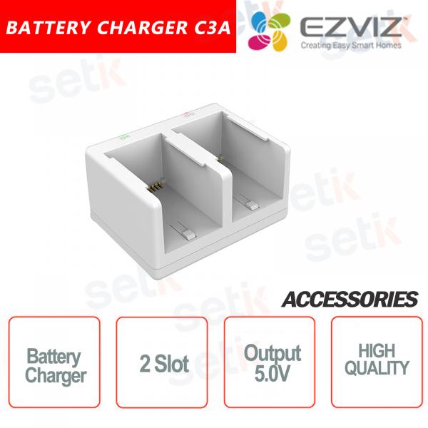Ezviz Caricabatteria per telecamera C3A fino a due batterie simultaneamente