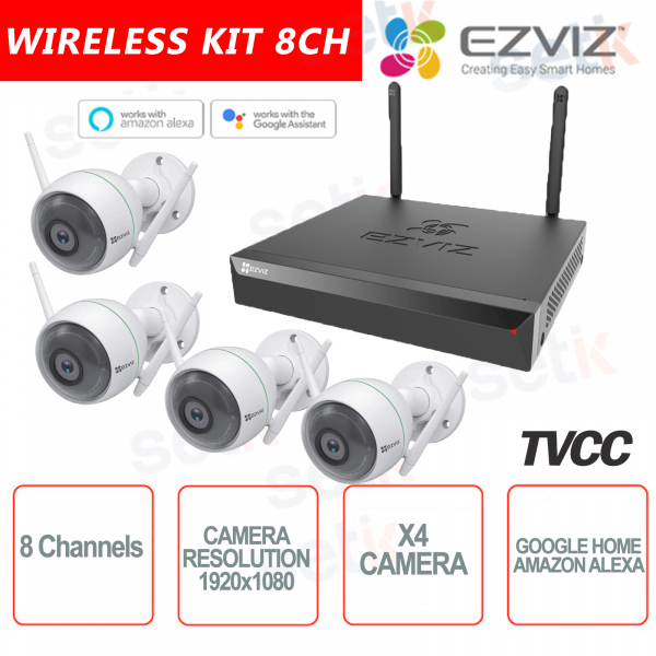 EZVIZ KIT WIRELESS 2MP Camera Compatible with Google Home and Amazon Alexa + 1 8-Channel Video Recorder Up to 5MP