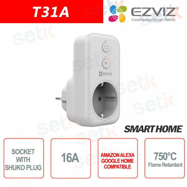 WIFI Electric socket with Shuko Smart Home Alexa Google Home EZVIZ connection