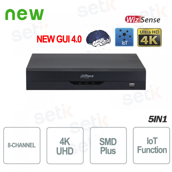 NVR IP 8 Canali H.265 4K Ultra HD 12MP 80Mbps Intelligenza Artificiale Wizsense Dahua