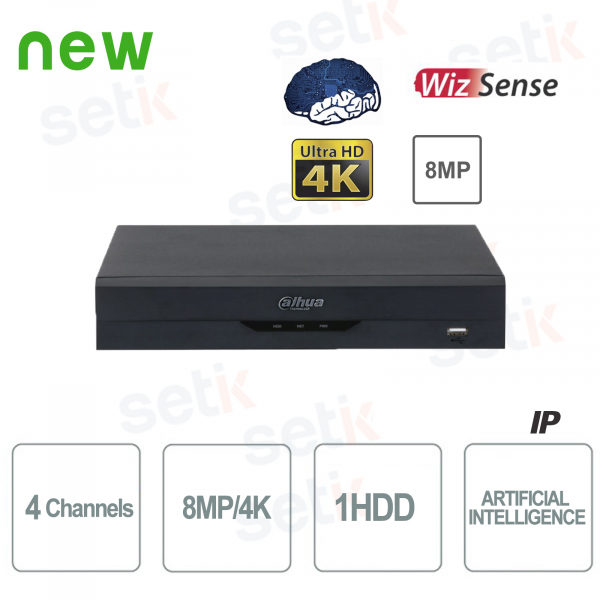 NVR WizSense 4 Canali H.265 4K Ultra HD - Intelligenza Artificiale - Fino a 8 MP 4K - Dahua
