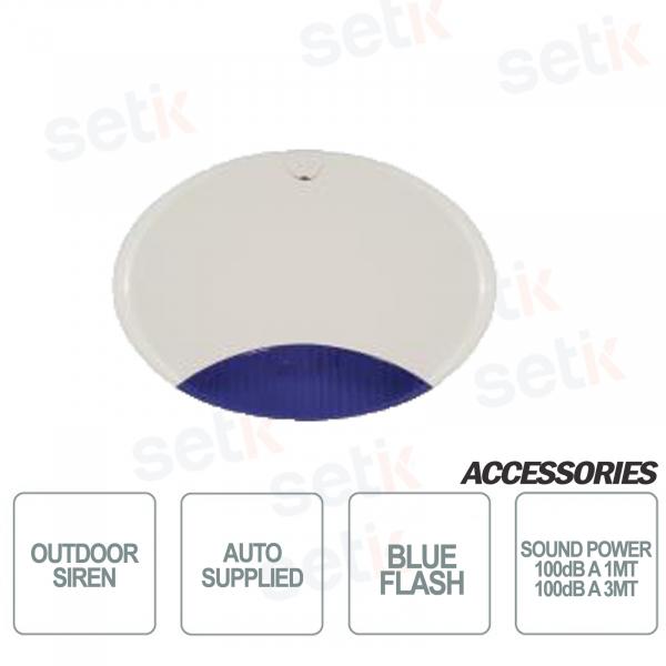 Sirena da esterno autoalimentata scocca bianca lampeggiante Blu - AMC